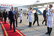 Russian President Dmitry Medvedev, arriving to attend the Second ASEAN – Russia Summit, during a welcoming ceremony at the Hanoi Airport.