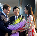 Russian President Dmitry Medvedev, arriving to attend Second ASEAN – Russia Summit, during a welcoming ceremony at the Hanoi Airport.