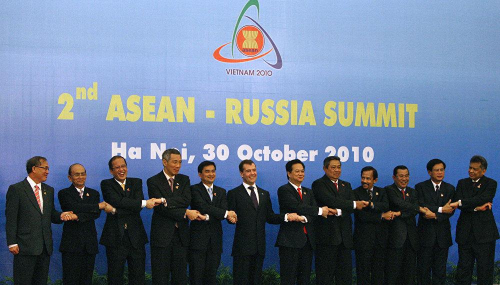 Russian President Dmitry Medvedev (sixth from the left) and leaders of the ASEAN Member States pose for a group photo before the start of the Second ASEAN – Russia Summit. From left: Prime Minister of Malaysia Najib Razak, Prime Minister of Myanmar Thein Sein, President of the Philippines Benigno Aquino, Prime Minister of Singapore Lee Hsien Loong, Prime Minister of Thailand Abhisit Vejjajiva, Prime Minister of Vietnam Nguyen Tan Dung, President of Indonesia Susilo Bambang Yudhoyono, the Sultan of Brunei Hassanal Bolkiah,  Prime Minister of Cambodia Hun Sen, Prime Minister of Laos Bouasone Bouphavanh, ASEAN Secretary- General Surin Pitsuwan.