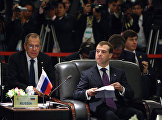 Russian President Dmitry Medvedev (right) at the Second ASEAN – Russia Summit. On his left is  Russian Foreign Minister Sergei Lavrov.