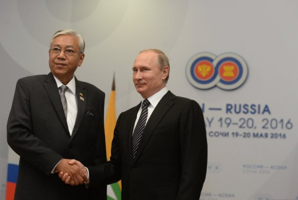 Vladimir Putin meets with with President of the Republic of the Union of Myanmar Htin Kyaw