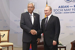 Russian President Vladimir Putin's bilateral meeting with President of Myanmar Htin Kyaw