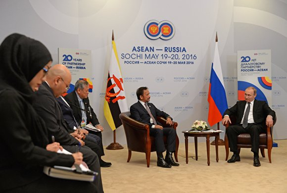 Vladimir Putin meets with the Sultan of Brunei-Darussalam Hassanal Bolkiah