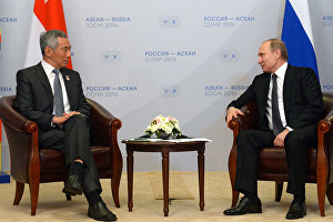 Vladimir Putin's bilateral meeting with Prime Minister of Singapore Lee Hsien Loong
