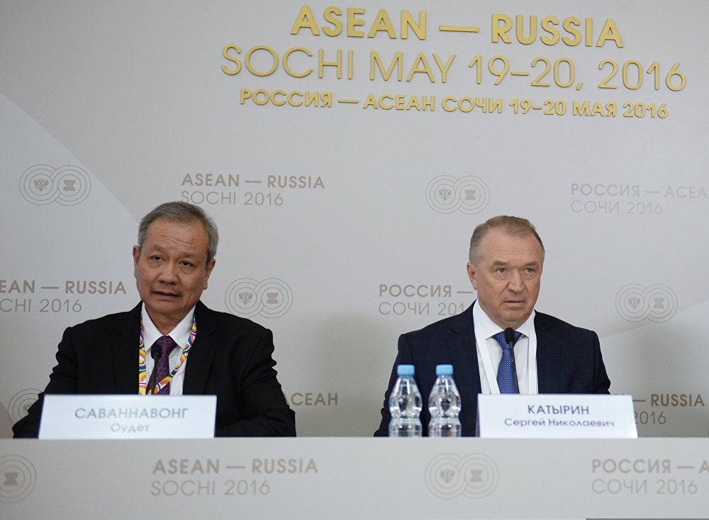 Press briefing with Sergei Katyrin and Oudet Souvannavong, Chairman of the ASEAN Business Advisory Council