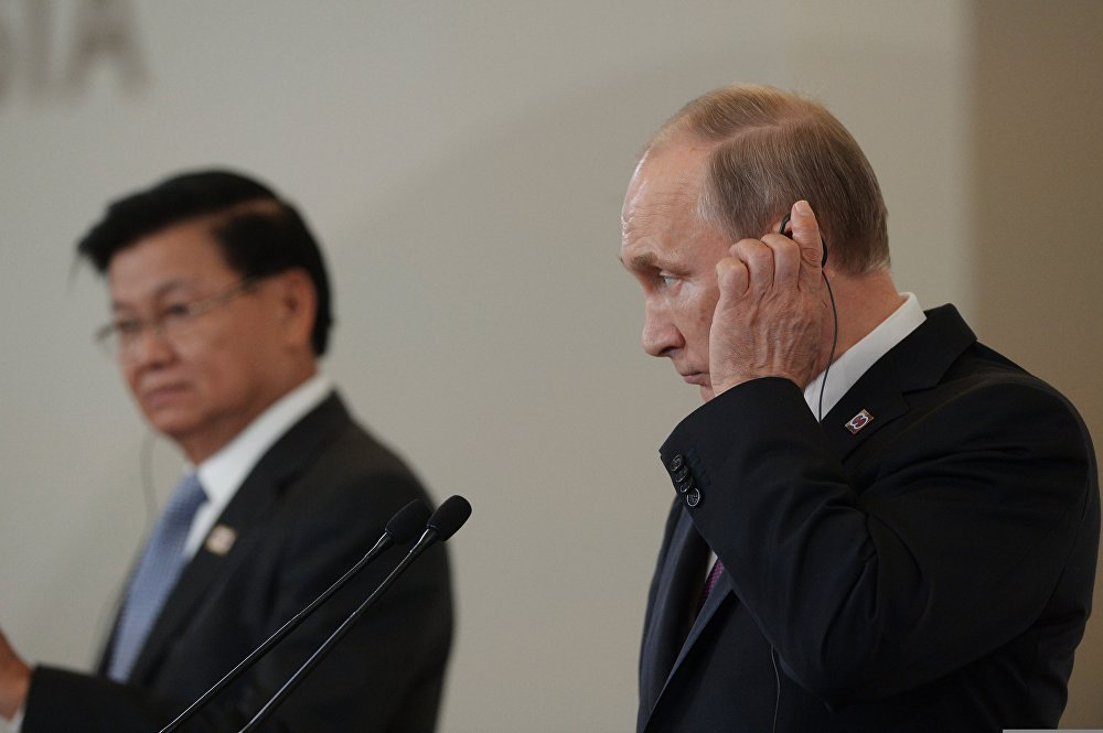 Russian President Vladimir Putin and Prime Minister of Laos Thongloun Sisoulith hold news conference following ASEAN-Russia Summit